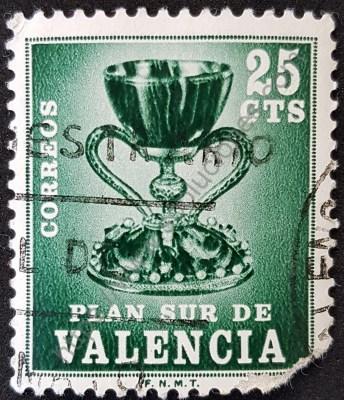 Santo Grial Estampilla 1968 Plan Sur de Valencia