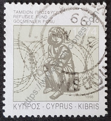 Fondos para refugiados Chipre sello de 1998