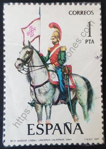 Batidor Caballería lanceros Calatrava sello de 1977