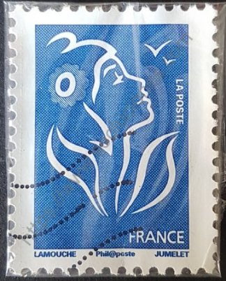 Sello Francia 2008 Marianne Lamouche sin valor facial color azul