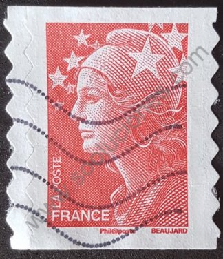 Sello Francia 2008 Marianne Beaujard sin valor facial color rojo