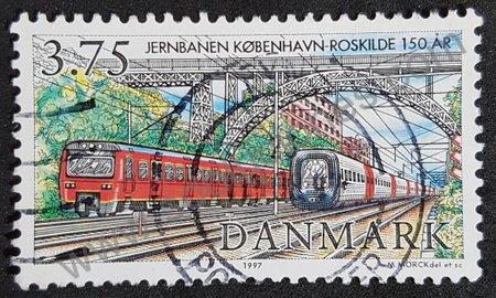 Estampilla de trenes Dinamarca 1997