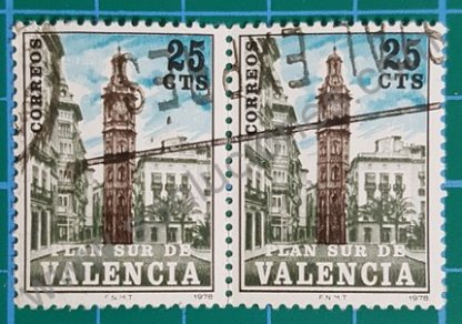 Sello Plan Sur de Valencia Torre Santa Catalina  – España 1978 25 Céntimos