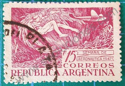 Sello Ícaro cayendo Argentina 1947 semana aviación