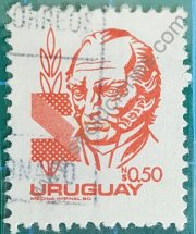 Sello Artigas Uruguay 1980 valor N$ 0,50