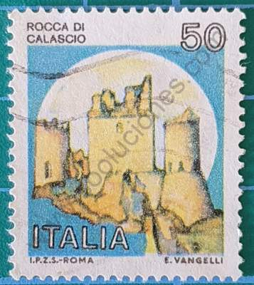 00328 sello Italia 1980 Castillo Calascio Tinta pálida