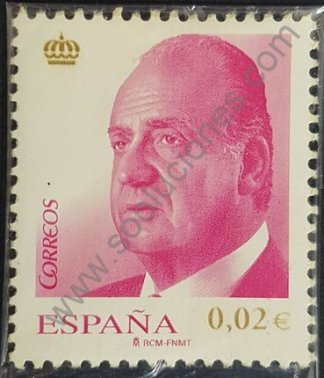 Sello España 2008 Rey Juan Carlos valor facial 0,02 € color lila