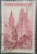 Catedral de Rouen sello de Francia año 1957