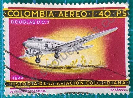 Sello de Colombia 1966 Avión Douglas DC3