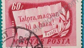 Sello Hungría 1948 lema Centenario de la revolución