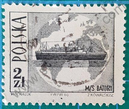 Sello Polonia 1966 barco M.S. Batory dentado 11 1/2