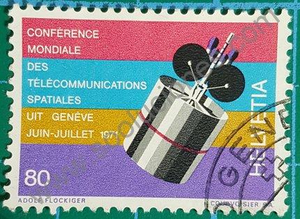 Sello Suiza 1971 Conferencia Telecomunicaciones Espaciales