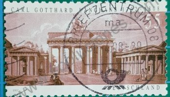 Puerta de Brandenburg Sello Alemania 2007 Carl Gotthard