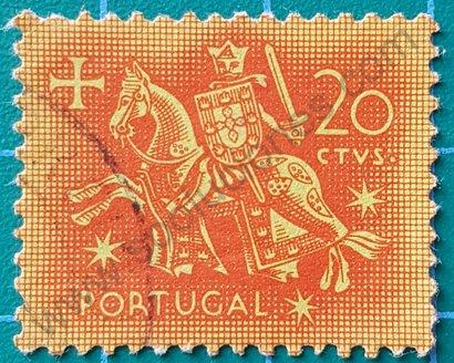 Sello 1953 Portugal Rey Dionisio I 20ctvs