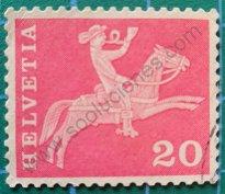 Sello Suiza 1960 Jinete de correos siglo XIX