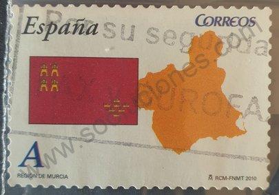 Sello Región de Murcia Bandera y mapa - España 2010