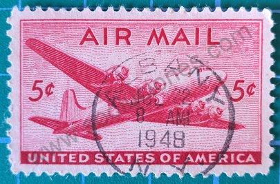 Sello Estados Unidos 1946 DC-4 avión - 5c