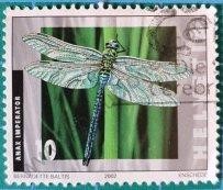Sello Suiza 2002 Libélula emperador azul