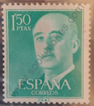 Sello España 1956 Francisco franco valor facial 1'50 Ptas – color verde