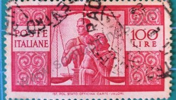 Sello Italia 1946 100 Liras - Familia y balanza