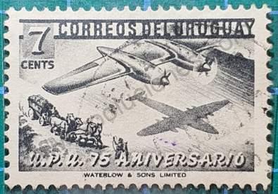 Avión y diligencia - Sello Uruguay 1952