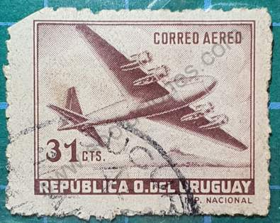 Avión Douglas DC-4 31c - Sello Uruguay 1952