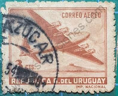 Sello avión Douglas DC-4 - Uruguay año 1949