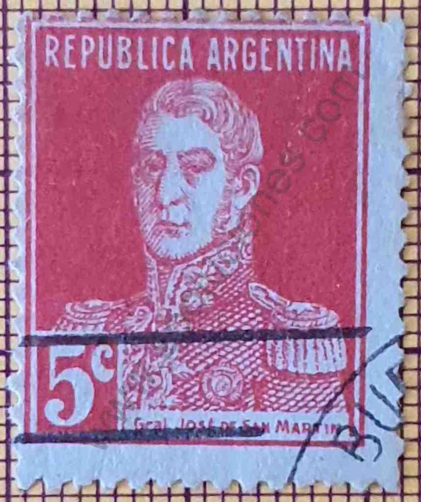 General San Martín 5c - Estampilla de Argentina año 1927