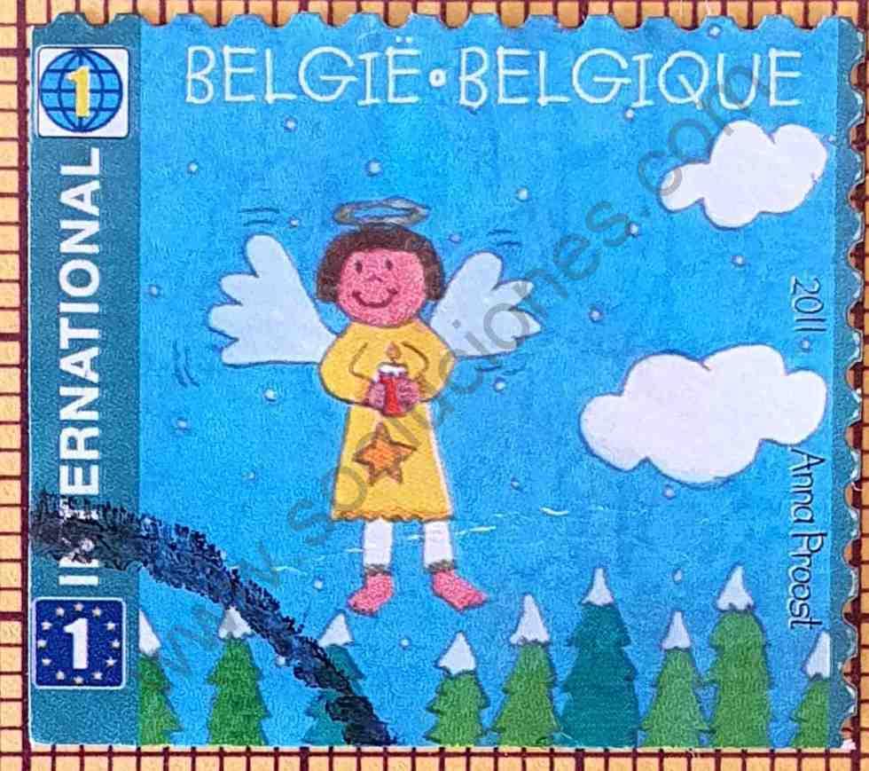 Niño ángel con alas - Sello de Bélgica año 2011
