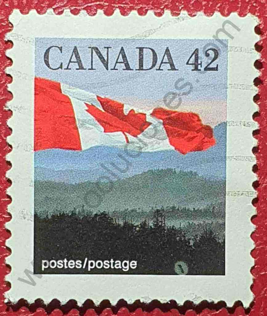 Bandera canadiense y colinas - sello de 1991