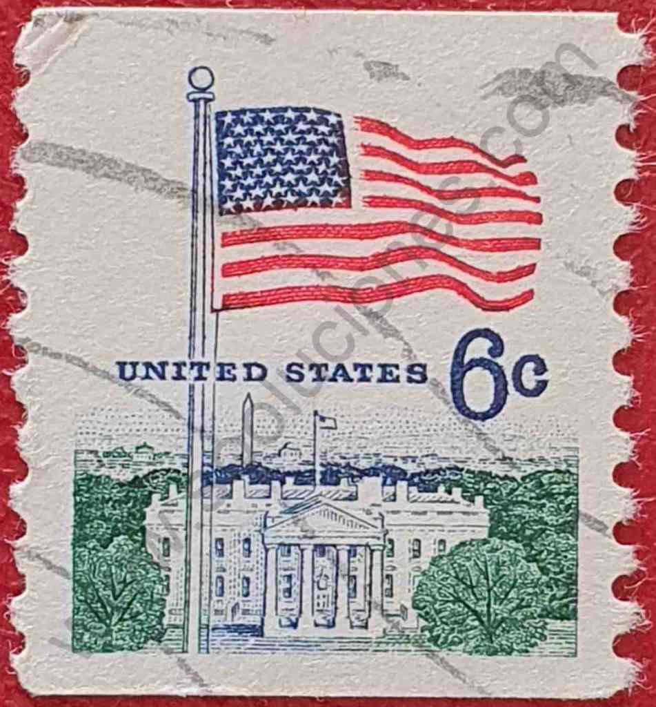 Bandera y Casa Blanca - Sello Estados Unidos 1969