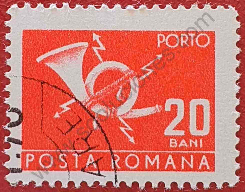 Sello 20 Ban Rumania 1970 - cuerno de correos