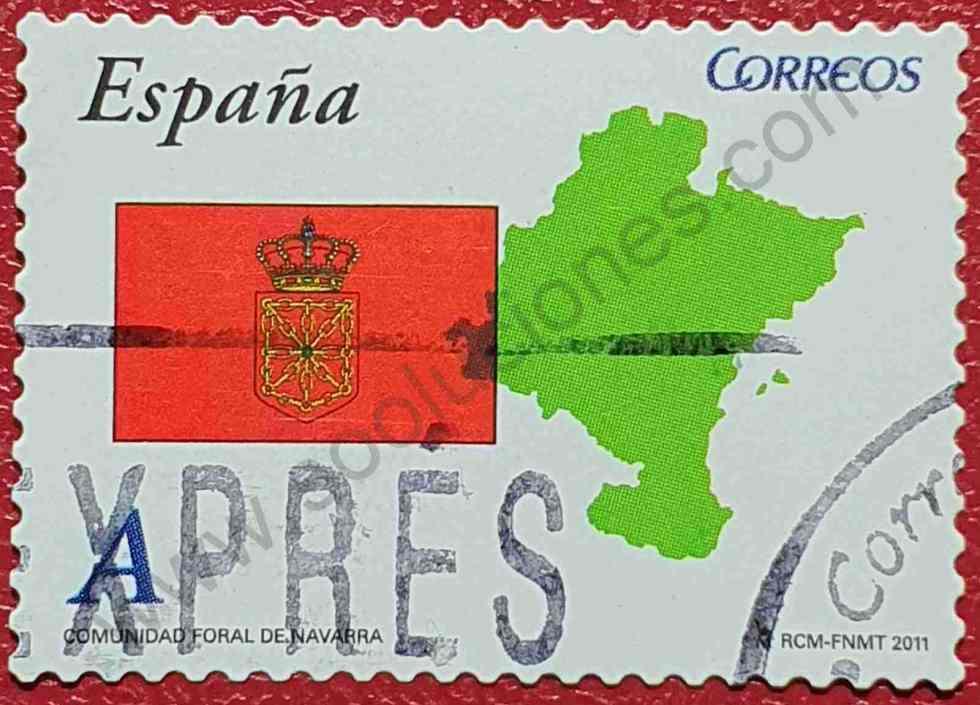 Mapa y Bandera Navarra - Sello España 2011