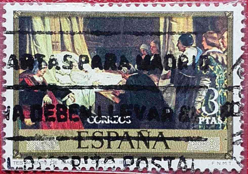 Doña Isabel la Católica dictando su testamento - Sello de pintura España 1974