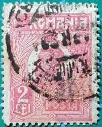 Rey Ferdinand I 2Lei - Sello Rumania 1922