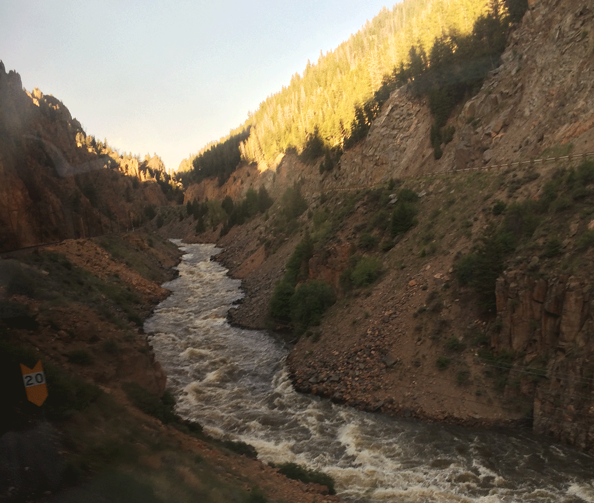 View of Colorado looking out Amtrak train