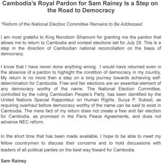 Sam Rainsy return message