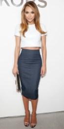 Lush-Fab-Glam.com Celeb Fashion Naya Rivera in a crop top and denim pencil skirt at Michael Kors fall 2014 show