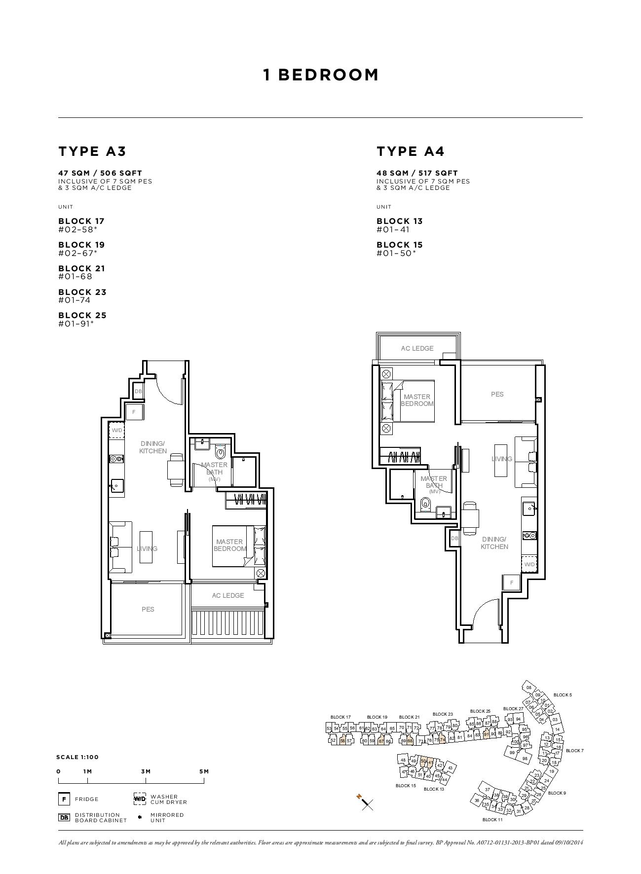 Sophia Hills 1 Bedroom Type A3, A4 Floor Plans