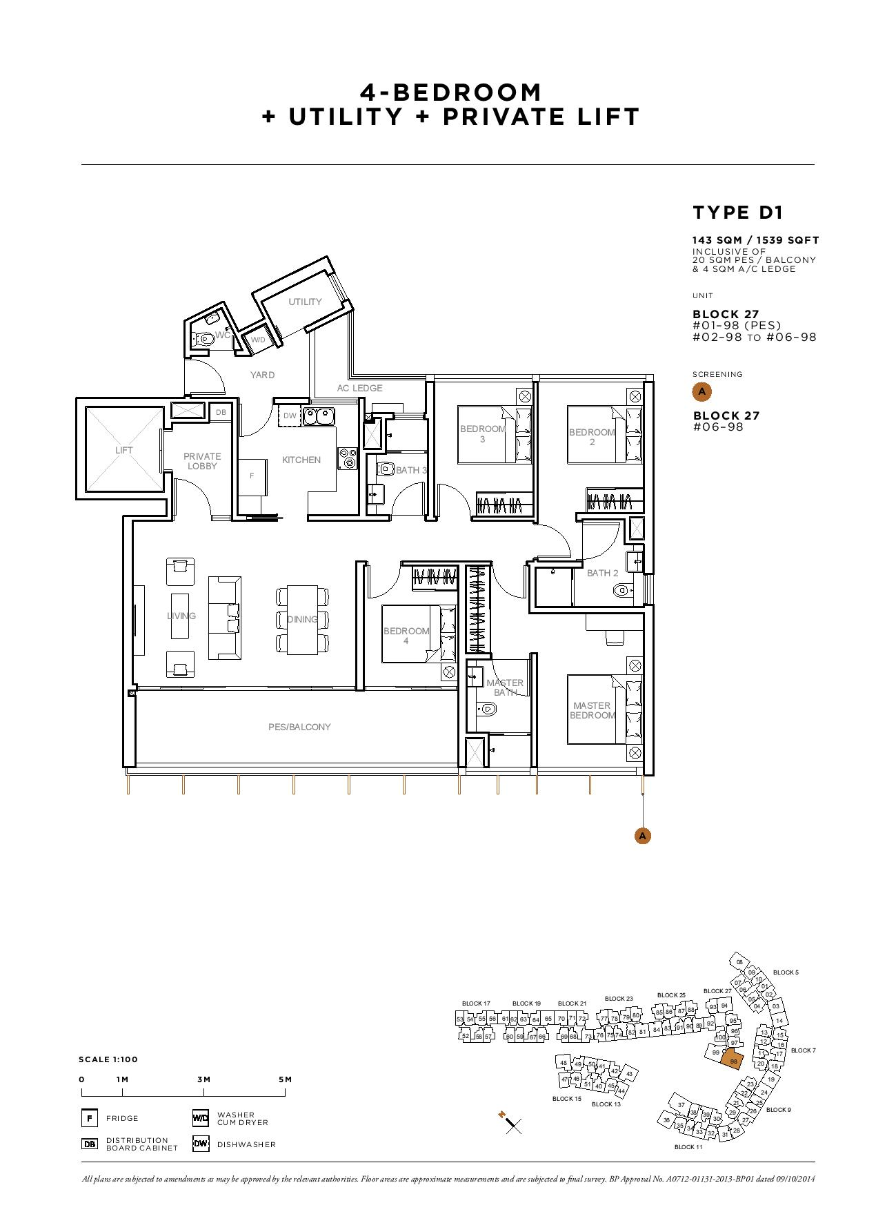 Sophia Hills 4 Bedroom + Utility Private Lift Type D1 Floor Plans