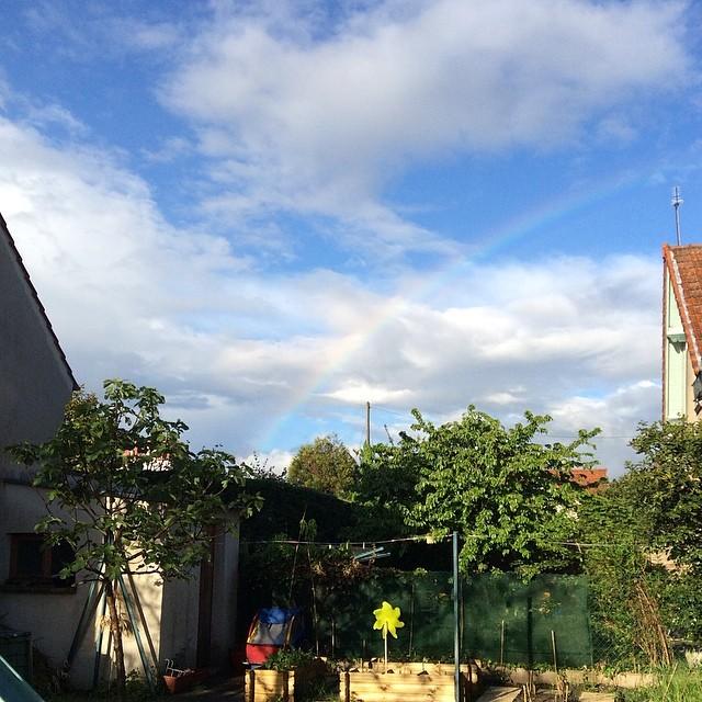 Ciel bleu avec des nuages, un arc-en-ciel, des arbres