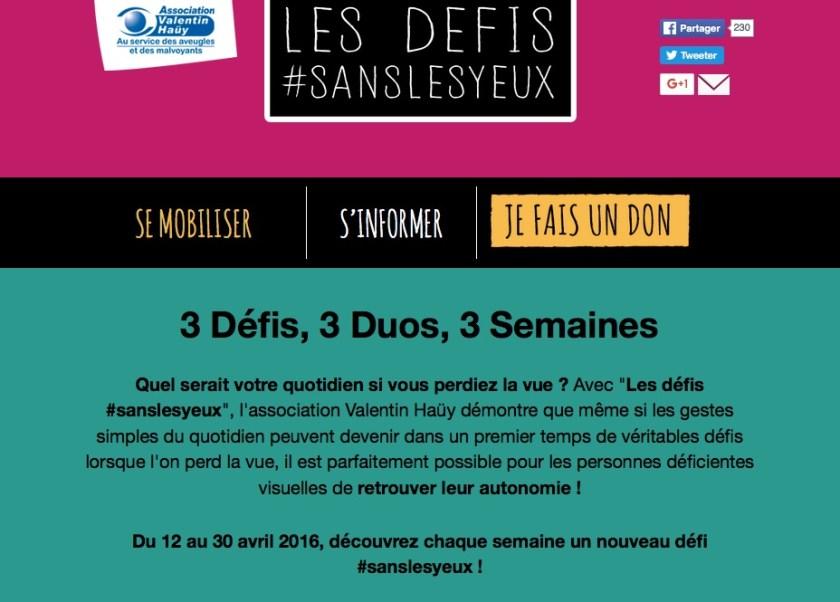 Capture d'écran du site internet de l'association Valentin Haüy