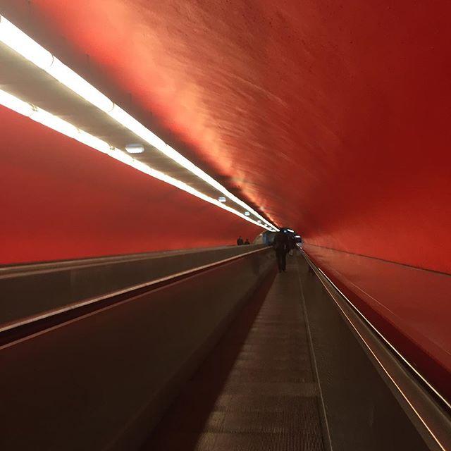 Perspective du tunnel rouge de l'opera avec son tapis roulant