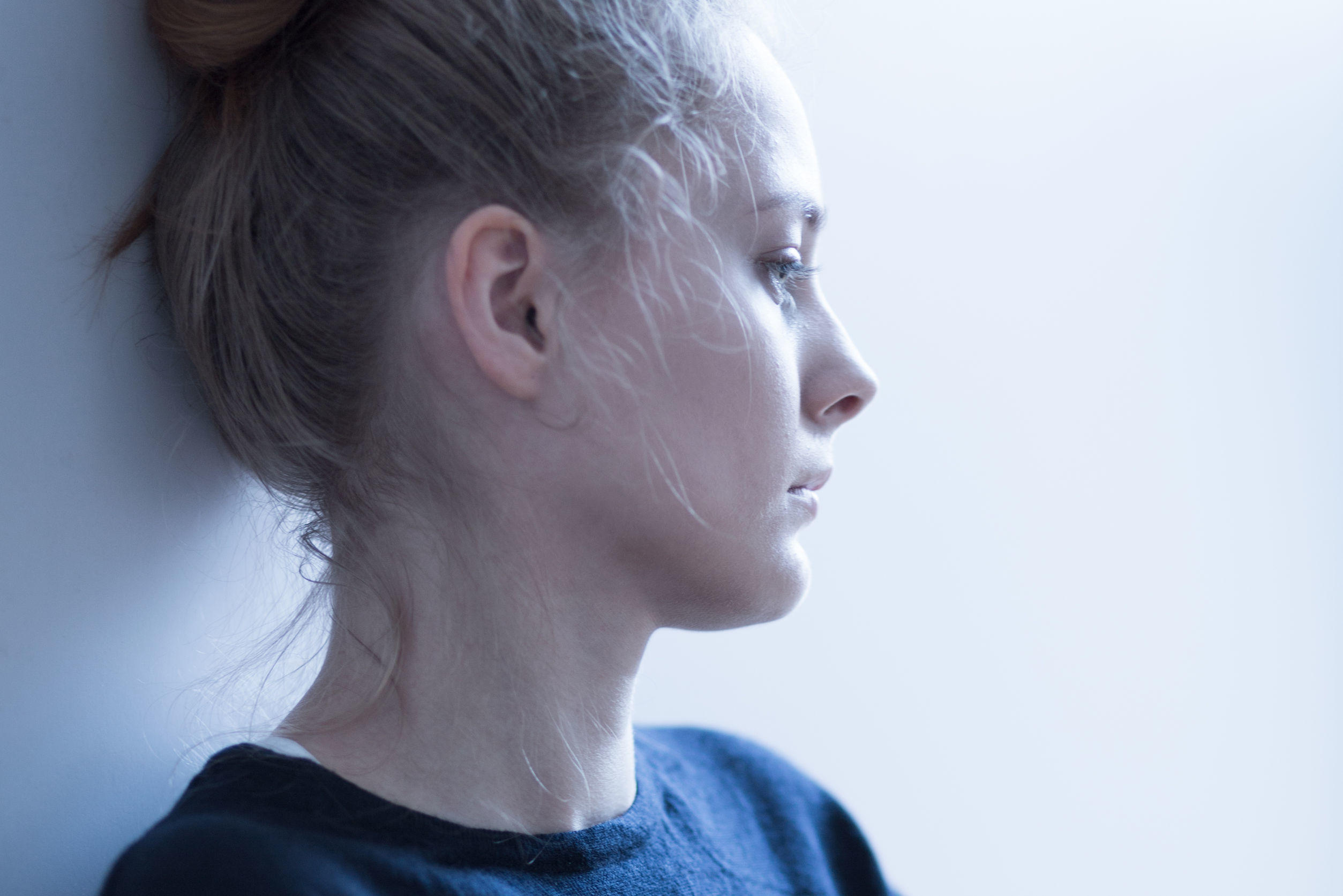 45531393 – portrait of a young female with mental problems