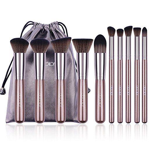 Docolor Makeup Brushes 10Pcs Premium Synthetic Kabuki Foundation Blending Eyeshadow Face Brush Set