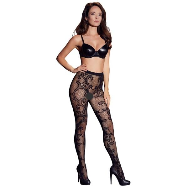Cottelli Legwear Lacey Tights Black UK Size 8-12