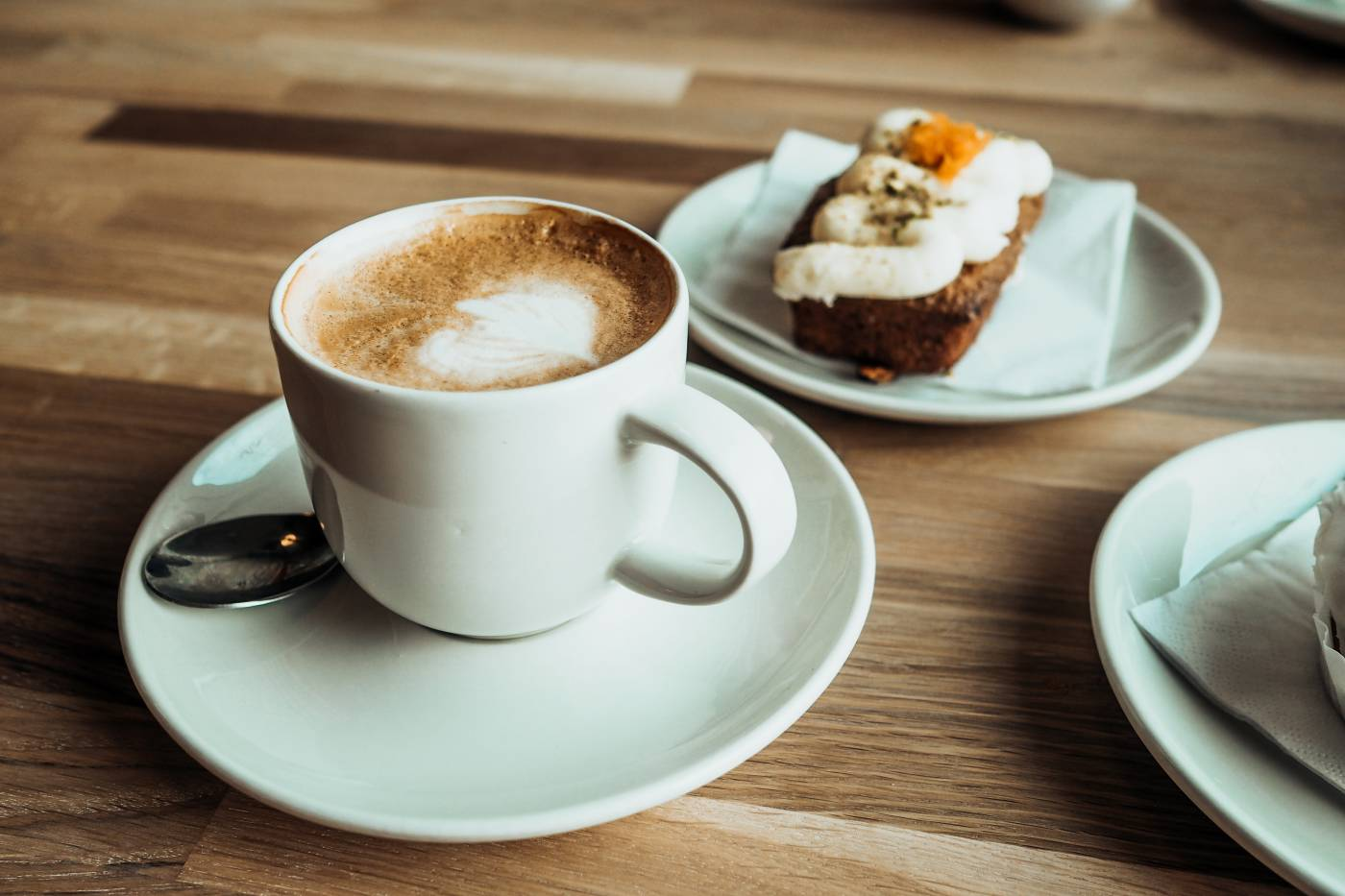 Flat White and Cake at MK Gallery Cafe