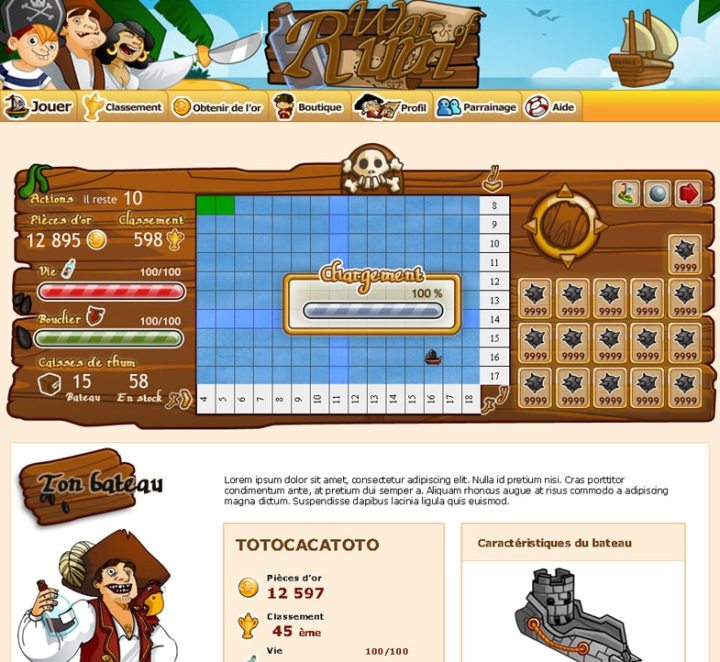 War of Rum Interface