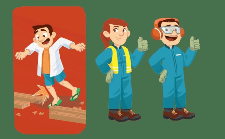 Illustration équipement de sécurité en scierie et rangement de l'espace de travail