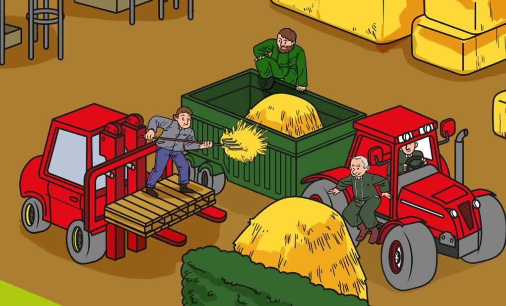 Illustration sur les risques du travail en hauteur réalisée pour la MSA agricole Auvergne (détail)